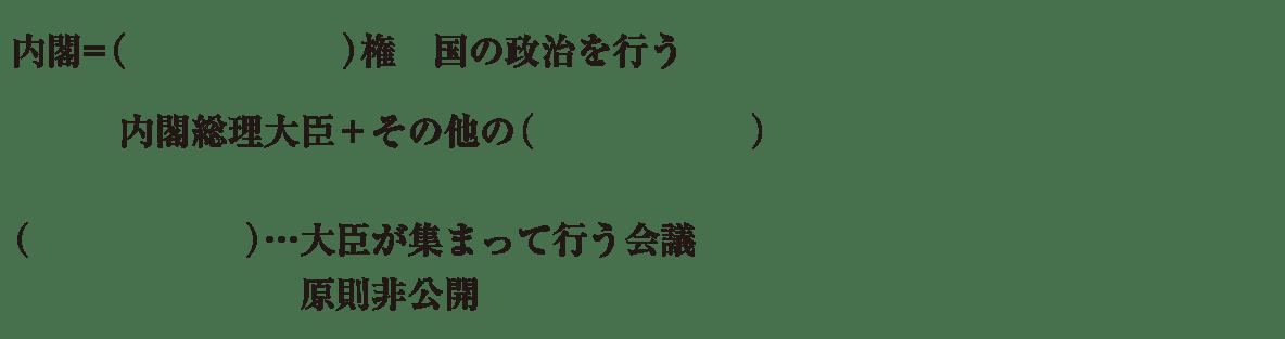 中学公民20 練習1 最初の4行(内閣=行政権~原則非公開まで)のみ表示、カッコ空欄