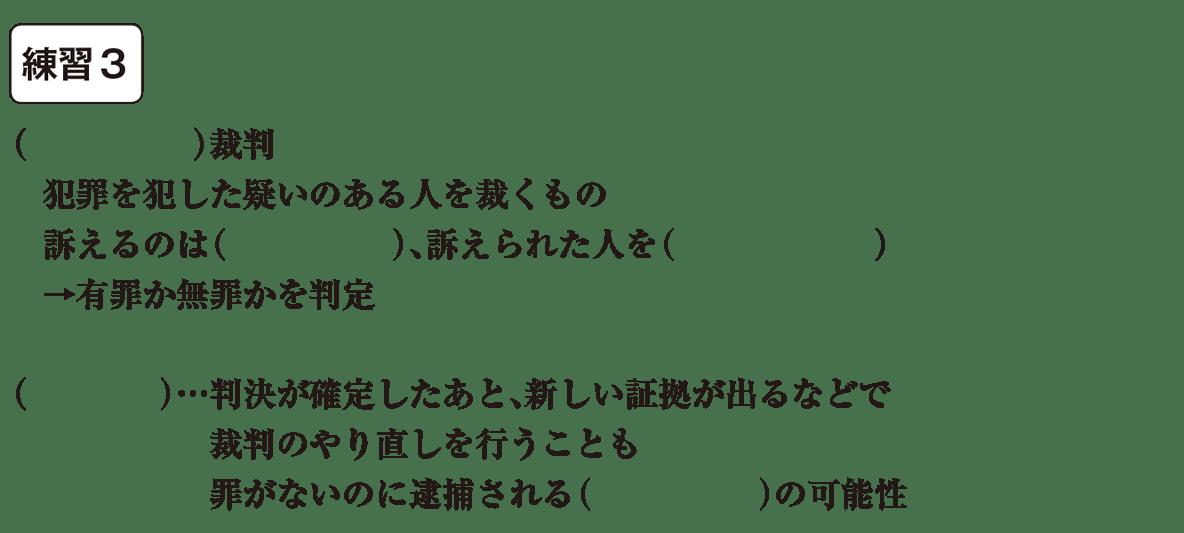 中学公民23 練習3(最後の7行<刑事裁判~以降> かっこ空欄