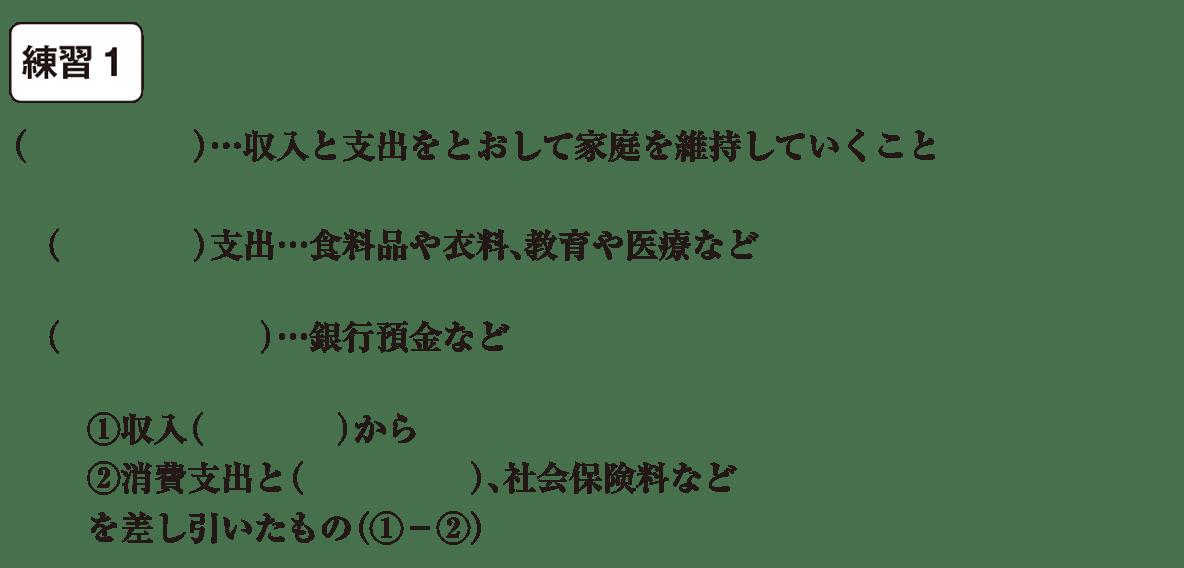 中学公民28 練習1(冒頭6行<家計~差し引いたもの(①-②)まで>) かっこ空欄