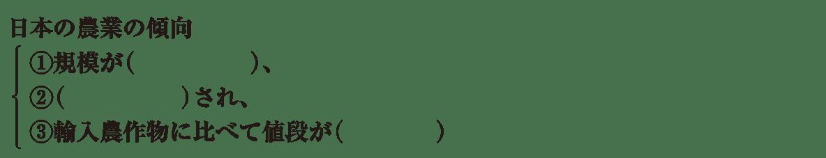 中学地理45 練習2 最初の4行(日本の農業の傾向の項目)のみ表示、カッコ空欄
