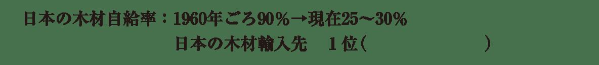 中学地理49 練習3 下から3,4行目(日本の木材自給率の説明)のみ表示、カッコ空欄
