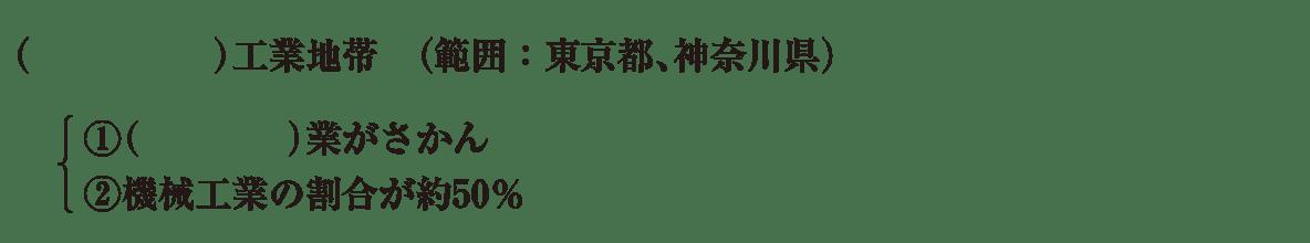 中学地理53 練習2 京浜工業地帯の項目(1~3行目)のみ表示、カッコ空欄
