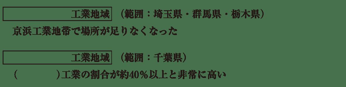 中学地理54 練習2 関東内陸と京葉工業地域の説明(次の4行) カッコ空欄