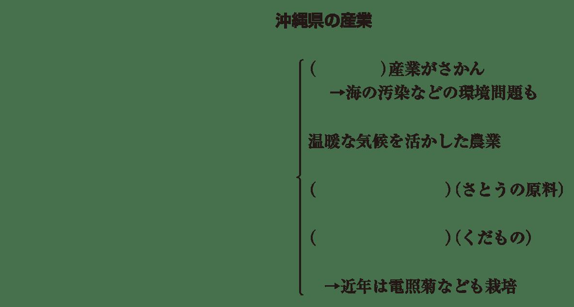 中学地理61 練習 「沖縄県の産業」という見出しとその下の6行のみ表示、カッコ空欄