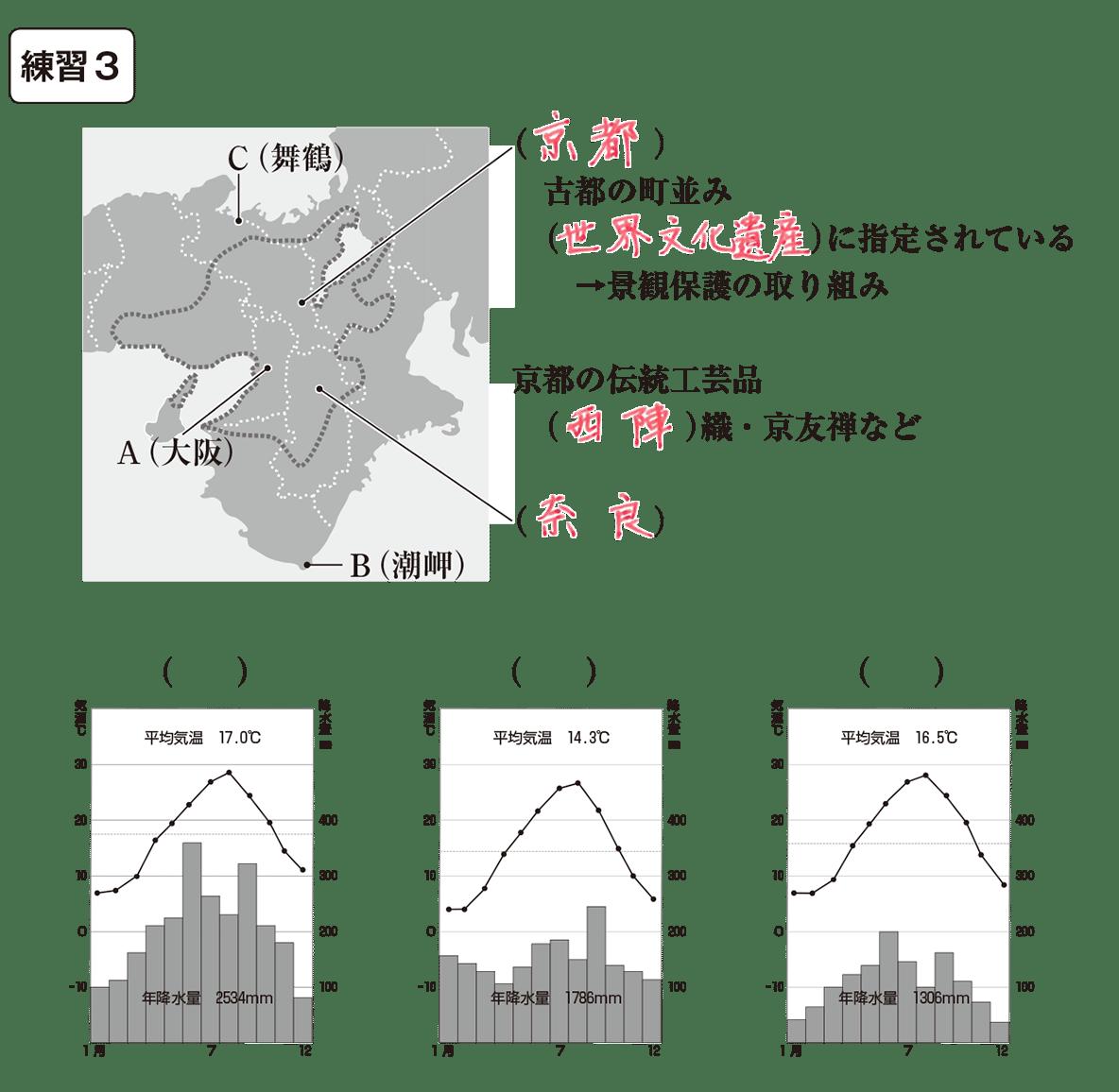 中学地理67 練習2,3(地図+解答欄+一番下の気候グラフ)練習2まで答え入り、気候グラフはカッコ空欄