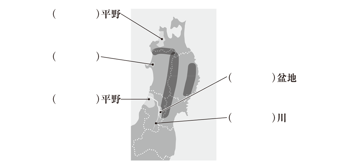 中学地理75 練習2 上部の地図と空欄のみ(稲作~以降のテキスト部分はカット)、カッコ空欄
