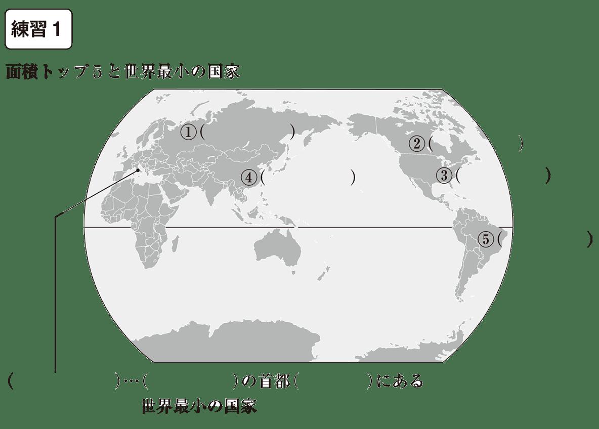 中学地理5 練習1 カッコ空欄