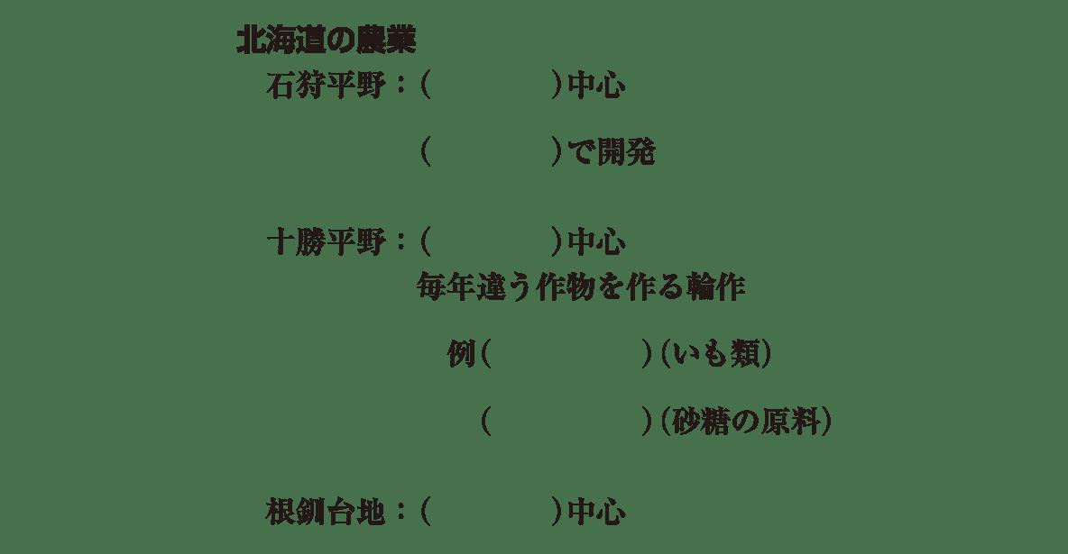 中学地理77 練習1 下のテキスト部分(小見出し「北海道の農業」以降)のみ、上部の地図は不要、カッコ空欄