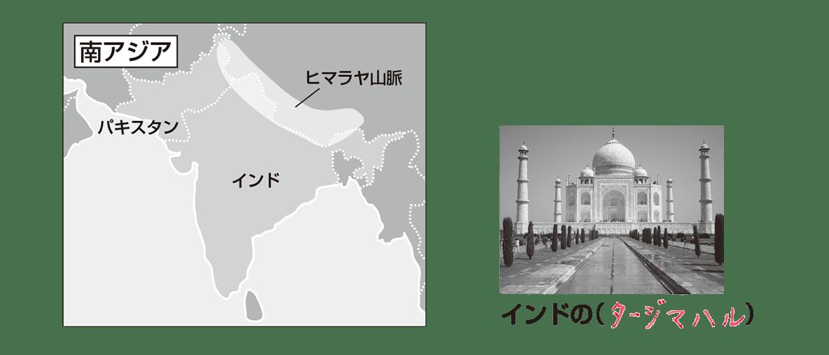 中学地理13 ポイント1(南アジアの地図と横の写真)答え入り
