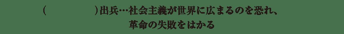 中学歴史53 練習3 シベリア出兵の2行の項目のみ(シベリア出兵~革命の失敗をはかる)表示、カッコ空欄