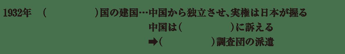 中学歴史58 練習1 最後の3行(1932年~)のみ表示、カッコ空欄