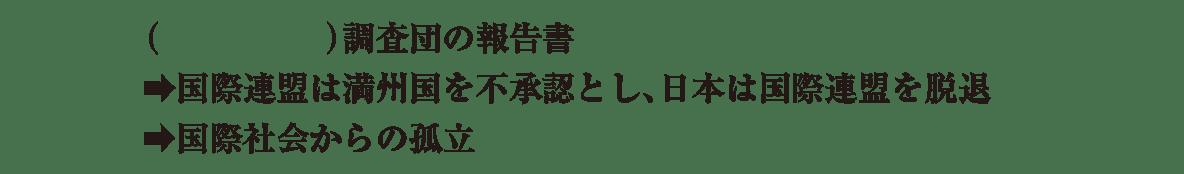 中学歴史58 練習2 最後の3行(リットン調査団~)のみ表示、カッコ空欄