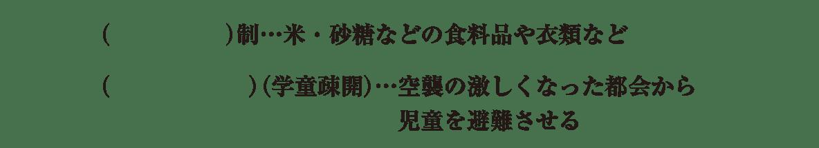 中学歴史61 練習2 最後の3行(配給制~非難させる)のみ表示、カッコ空欄