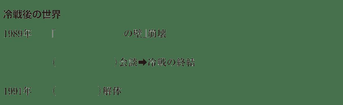 中学歴史67 練習2 最初の4行(冷戦後の世界~ソ連解体)のみ表示、カッコ空欄