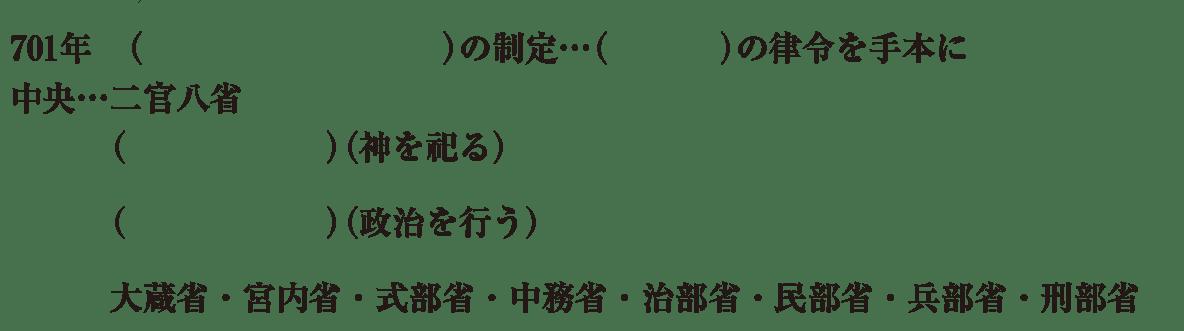 中学歴史9 練習1 5行目まで(刑部省まで)表示、括弧空欄