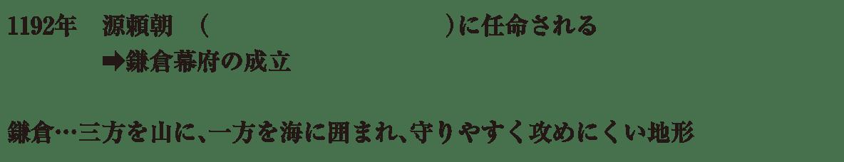 中学歴史15 練習1 1192年~(下3行)のみ表示、カッコ空欄