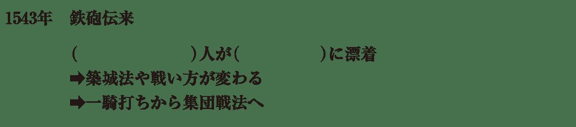 中学歴史26 練習1 鉄砲伝来の項目(冒頭4行)のみ表示、カッコ空欄