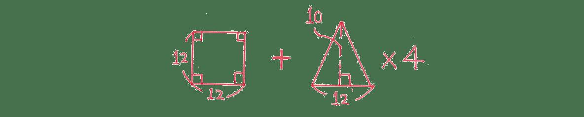 中1 数学81 練習(1)の答え 底面と側面に分解した図