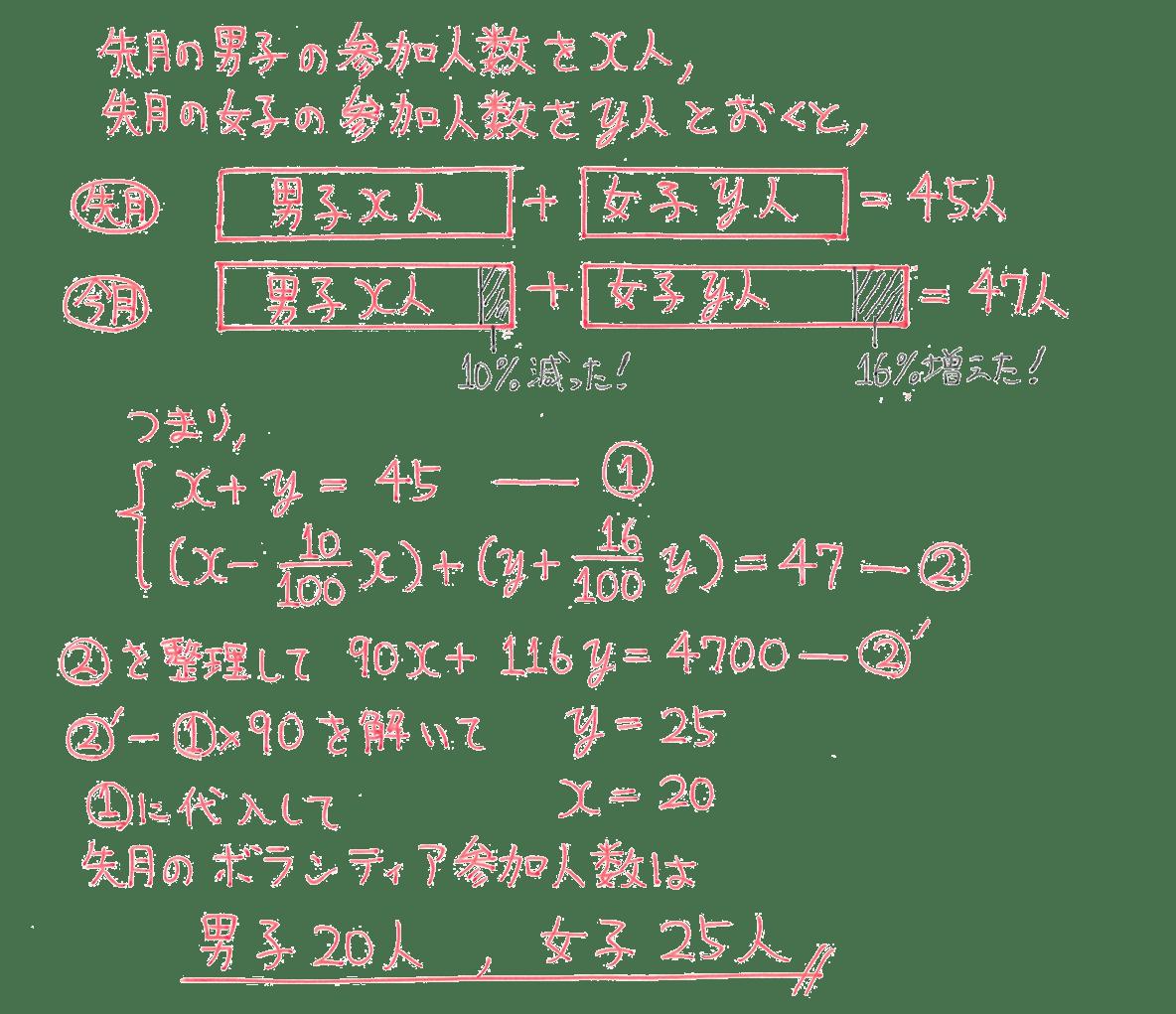 中2 数学105 例題の答え