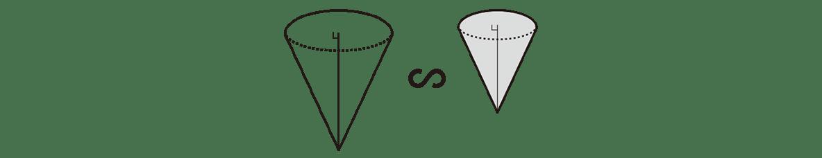 中3 数学234 練習の答え ページ下部のヒントの図(2つの円すい) 図のみ