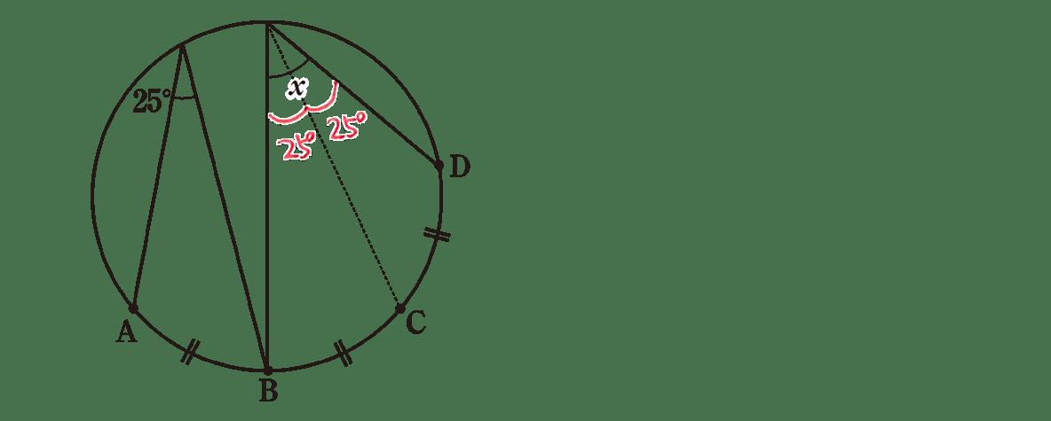 中3 数学243 練習(2)の答え 問題の図に円周角を書き込んだもの