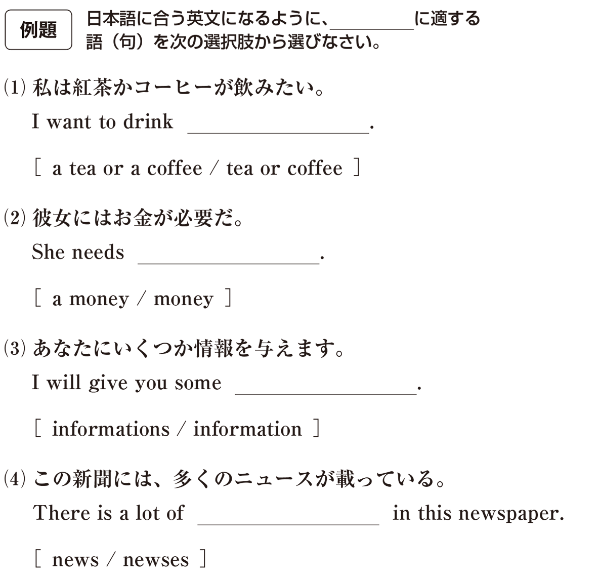 高校英語文法 名詞・冠詞1・2の例題(1)(2)(3)(4) アイコンあり
