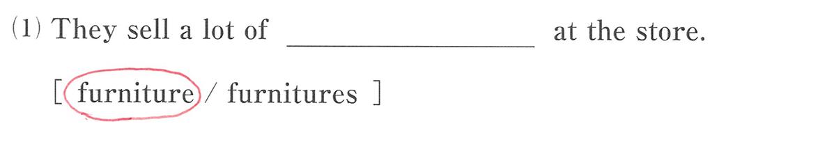 高校英語文法 名詞・冠詞3・4の練習(1)の答え
