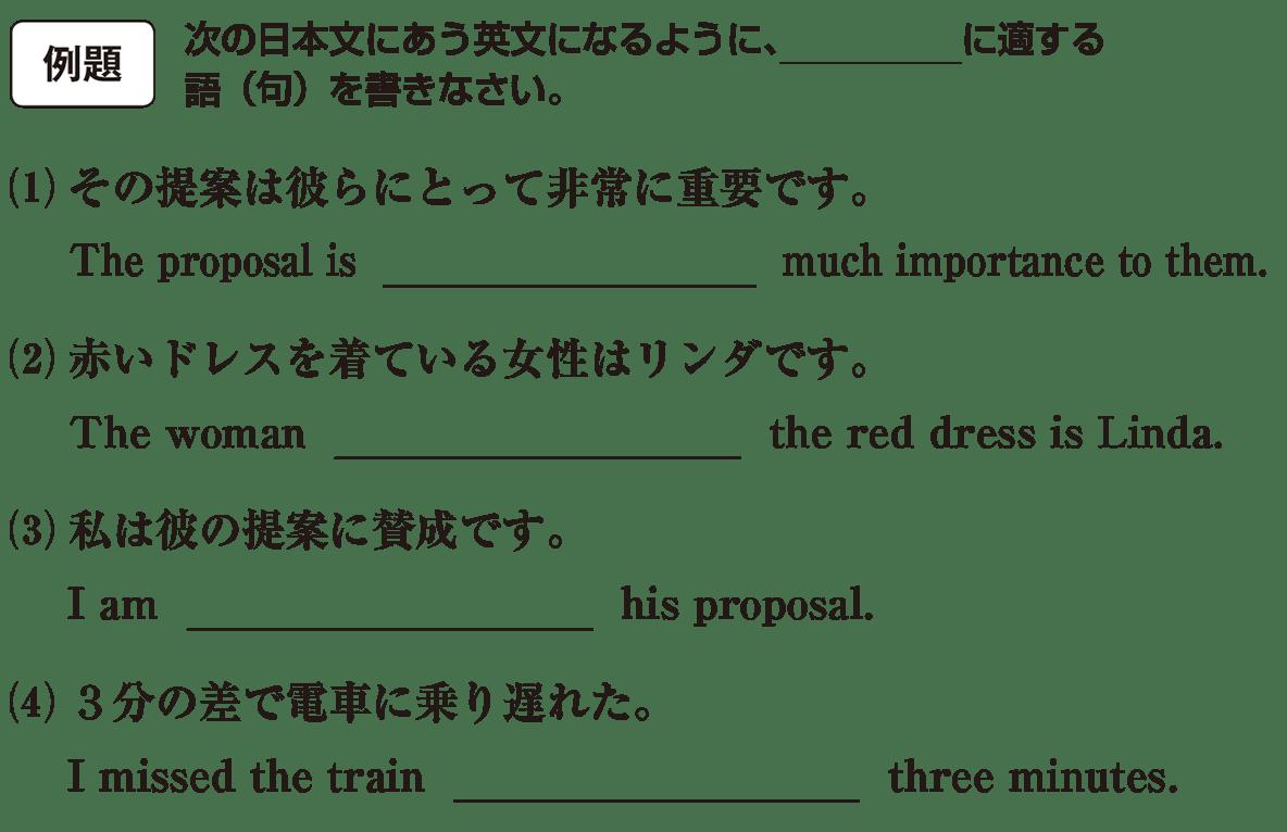 高校英語文法 前置詞21・22の例題(1)(2)(3)(4) アイコンなし