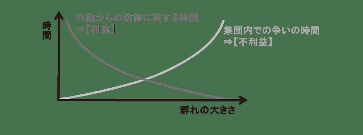 高校 生物 個体群4 ポイント2 グラフ・利益と不利益のグラフのみ