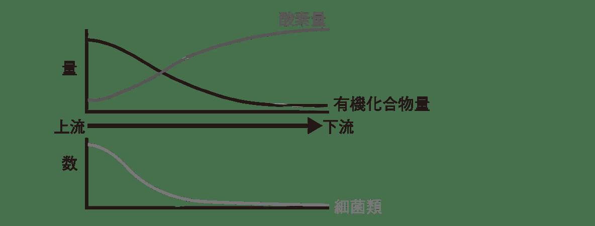 高校 生物基礎 生態系15 ポイント2 ポイント除く 上のグラフのうち「BOD」の折れ線のぞく 下のグラフのうち「清水性生物」の折れ線のぞく