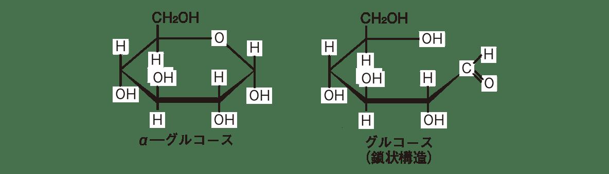高校 化学 6章 2節 8 2 α-グルコースとグルコース(鎖状構造)の構造式を横にに並べる