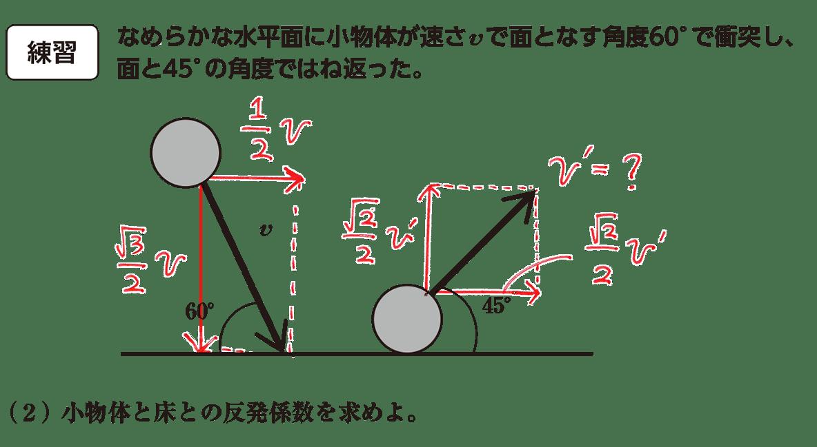 高校物理 運動と力66 練習 問題文と(2)と図 赤字あり