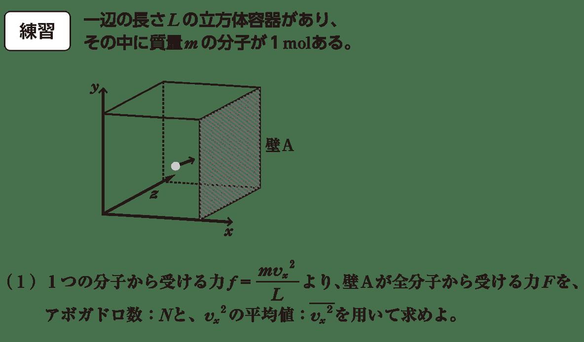 熱力学10 練習と(1)の問題文と図