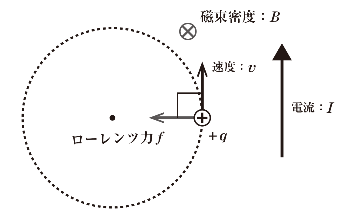 高校物理 電磁気62 ポイント1 図 image03にローレンツ力fと左向きの矢印を加える