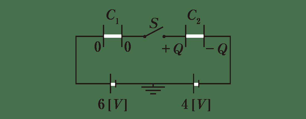 高校物理 電磁気19 ポイント1 図 +Q<sub>1</sub>,-Q<sub>1</sub>は0に変える 閉じているスイッチSを開いた状態にする +Q<sub>2</sub>,-Q<sub>2</sub>は+Q,-Qに変える 左の電池の下に6V,右の電池の下に4Vといれる フォルダ内同封のパワポ参照