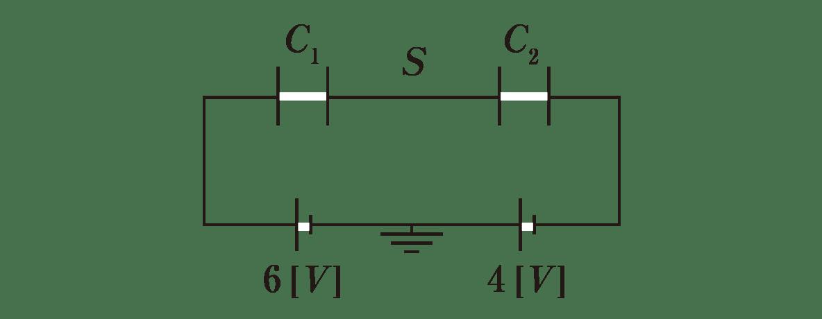 高校物理 電磁気19 ポイント1 図 左の電池の下に6V,右の電池の下に4Vといれる +Q<sub>1</sub>、-Q<sub>1</sub>、+Q<sub>2</sub>、-Q<sub>2</sub>をカットする