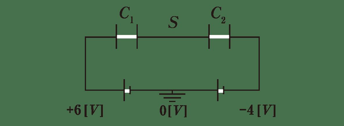高校物理 電磁気19 ポイント1 図 左の電池の左下に+6V,右の電池の右下に-4Vといれる アースの下に0Vといれる +Q<sub>1</sub>、-Q<sub>1</sub>、+Q<sub>2</sub>、-Q<sub>2</sub>をカットする