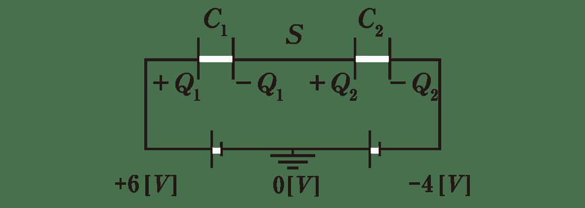 高校物理 電磁気19 ポイント1 図 左の電池の左下に+6V,右の電池の右下に-4Vといれる アースの下に0Vといれる