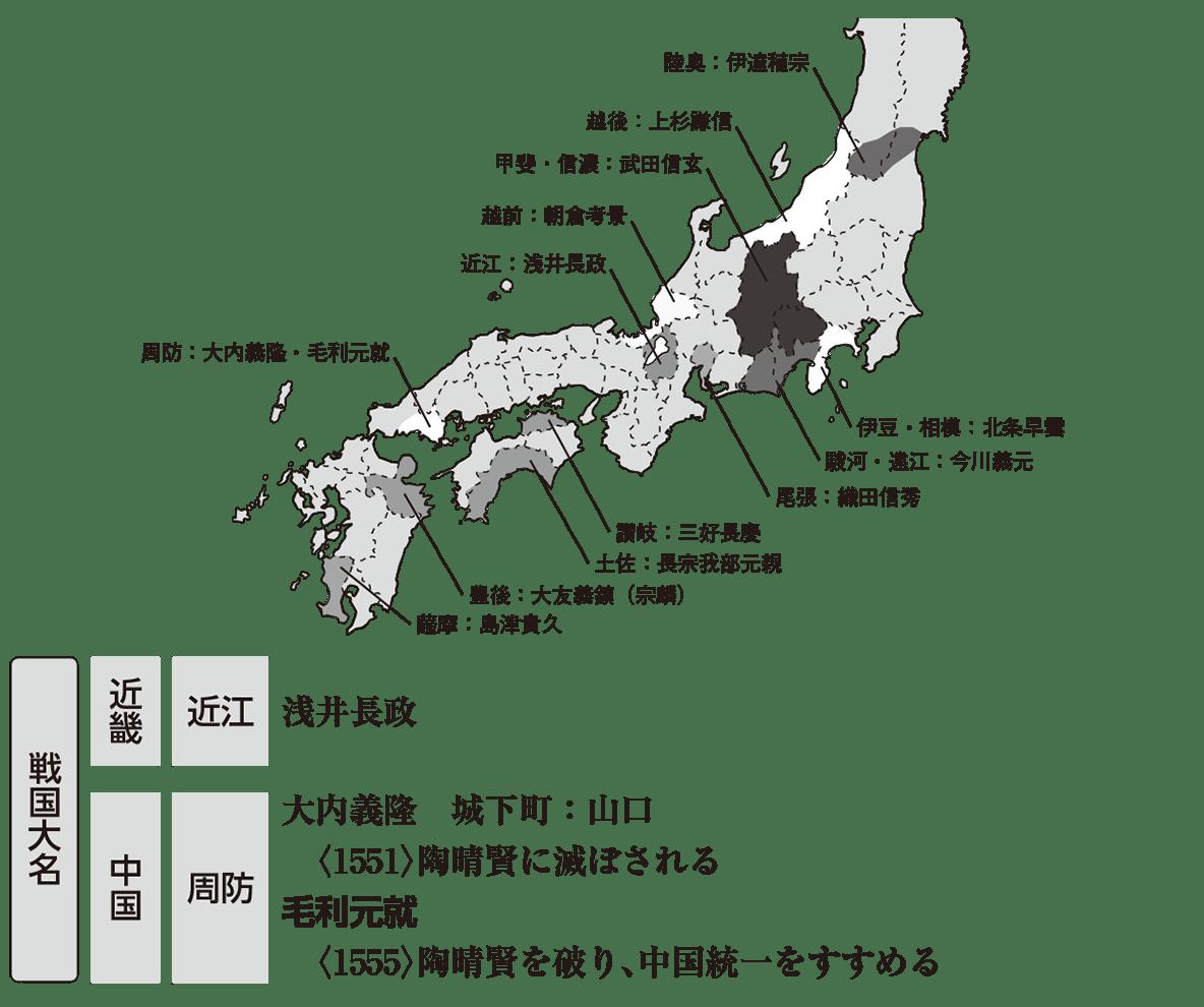 中世38 ポイント3 全体地図+戦国大名(近畿・中国)