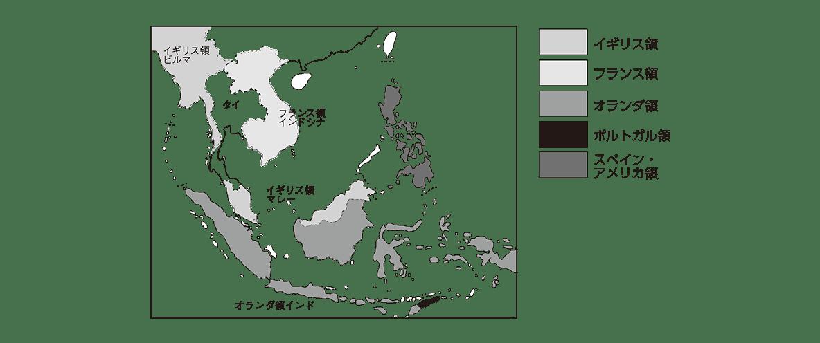 近代70 ポイント2 右ページの東南アジアの地図 色分けの例も込みで