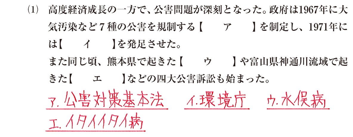 現代15 問題1(1) 答え入り