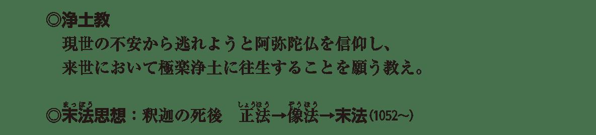 原始・古代文化19 ポイント3 「◎浄土教~」から「◎末法思想~」までの4行分