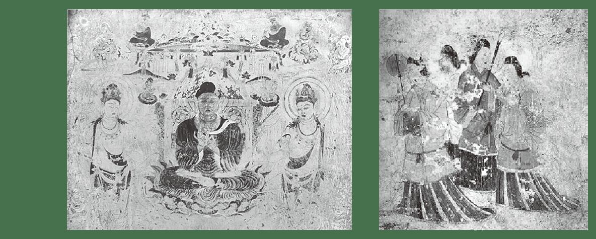 法隆寺金堂壁画と高松塚古墳壁画の写真・キャプション不要