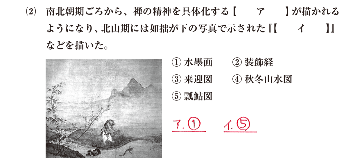 中世の文化21 問題1(2) 解答