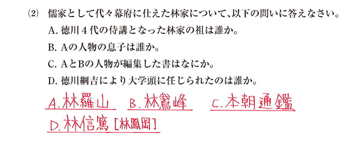 近世の文化21 問題2(2) 解答