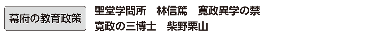 近世の文化22 単語1 幕府の教育政策