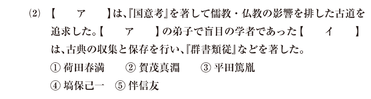 近世の文化30 問題1(2) 問題
