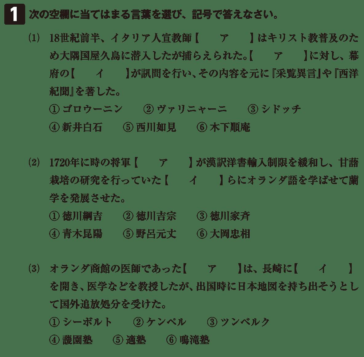 近世の文化33 問題1 問題
