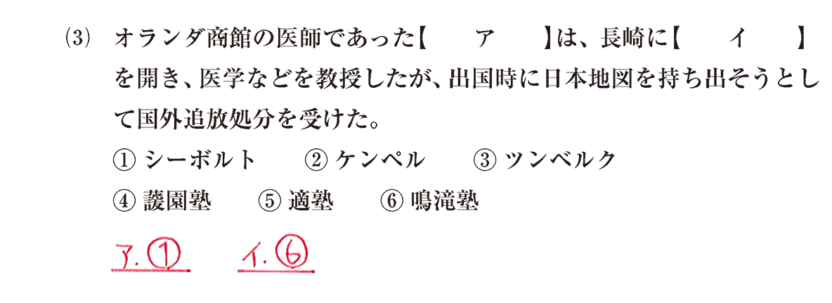 近世の文化33 問題1(3) 解答