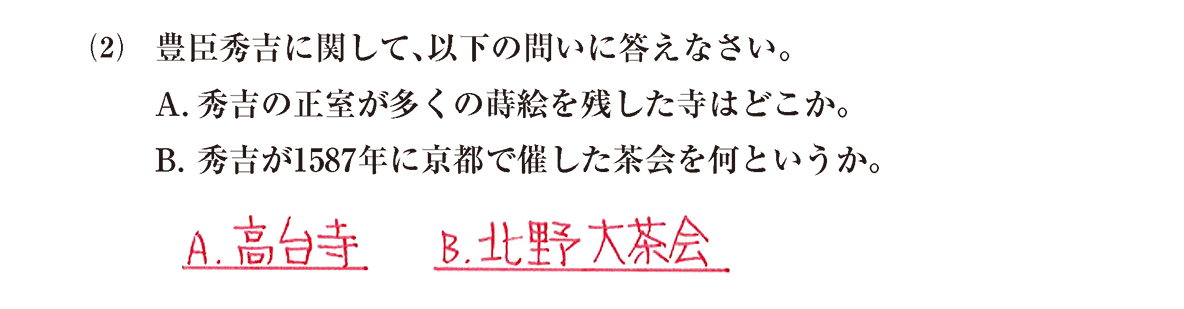 近世の文化6 問題2(2) 解答